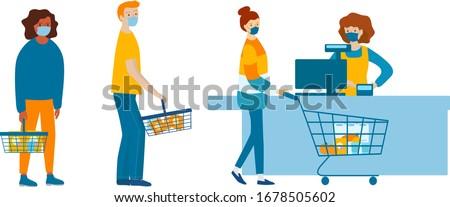 People in medical masks doing shopping in supermarket. Quarantine coronavirus 2019-nCoV in the store. Epidemic Precautions
