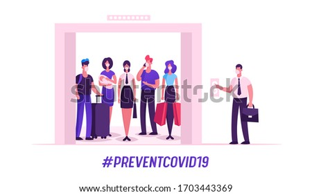 People in Medical Masks Stand in Elevator with Open Doors Waiting Inside Lift Stopped on Floor of Building with Male Character Push Button, Covid 19 Spread Prevention. Cartoon Vector Illustration