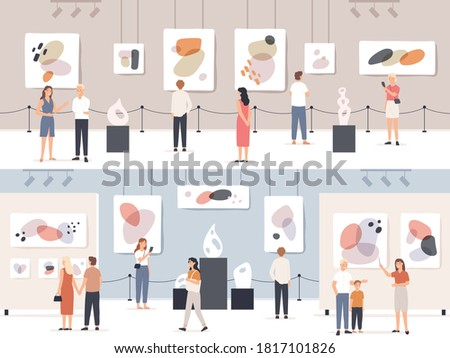 People in museum. Visitors in art gallery looking exposition artwork, paintings and sculptures, tourists in cultural center vector concept. Guide giving excursion, girl taking photo Сток-фото ©