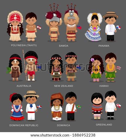 People in national dress. Polynesia (Tahiti), Samoa, Panama, Australia, New Zealand, Hawaii, Dominican Republic, Dominica, Greenland. Set of pairs dressed in traditional costume. Vector illustration. ストックフォト ©
