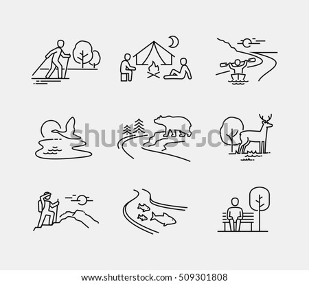People in nature vector icons