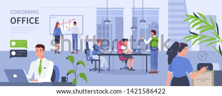 People in open space coworking office concept design. Can use for web banner, infographics, hero images. Flat isometric vector illustration isolated on white background.