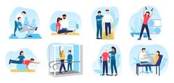 People in orthopedic therapy rehabilitation. Therapists character working with disabled patients, rehabilitating physical activity, physiotherapy. Set of flat cartoon vector illustrations