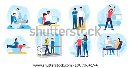 People in orthopedic therapy rehabilitation. Therapists character working with disabled patients, rehabilitating physical activity, physiotherapy. Set of flat cartoon vector illustrations ストックフォト ©