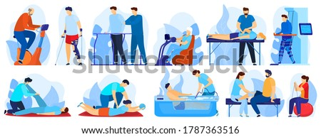 People in orthopedic therapy rehabilitation vector illustration set. Cartoon flat therapist character working with disabled patient, rehabilitating physical activity, physiotherapy isolated on white