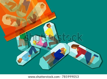 people in pain trapped inside pill capsules that are being emptied from a pill bottle - prescription pain medication addiction concept