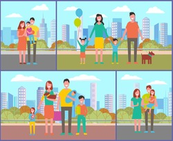 People in park walking and relaxing vector, family consisting of father mother kids and pet strolling in park. Male with kiddo on hands, canine dog