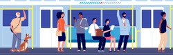 People in public transport. Subway train travel, crowd in urban metro. Overcrowded carriage, modern city transportation vector illustration