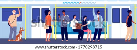People in public transport. Subway train travel, crowd in urban metro. Overcrowded carriage, modern city transportation vector illustration Сток-фото ©