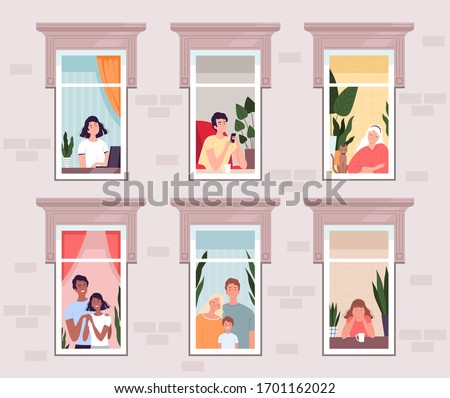 People in quarantine and isolation stay at home and look out the windows. Families, couples, young and old people look out of the windows of the house