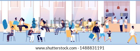 People in restaurant. Guys eating at dinner table in cafe. Teenagers snacking meal in food court, cafeteria interior vector concept