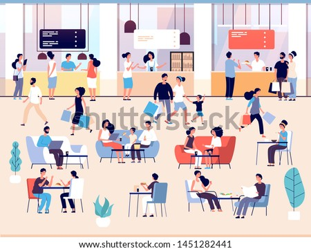People in restaurant. Men and women eating meal in cafe buffet. Families having lunch in food court interior vector concept. Illustration of cafe and restaurant in shopping mall