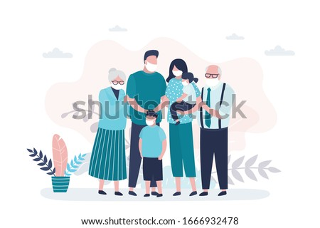 People in safety masks stop the spread of viruses. Family portrait. Happy parents with children. Grandparents, Mother,father and two kids. Cute huge family. Bad ecology and air. Vector illustration