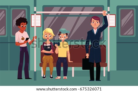 people in subway train car