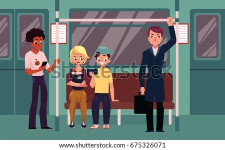 people in subway train car