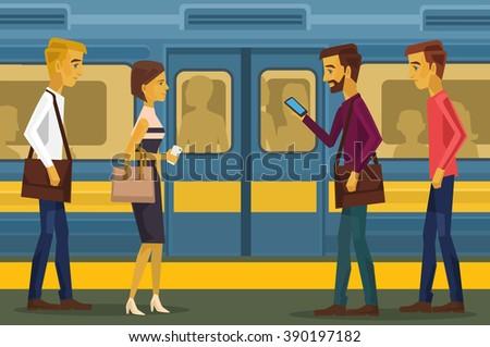 people in subway vector flat