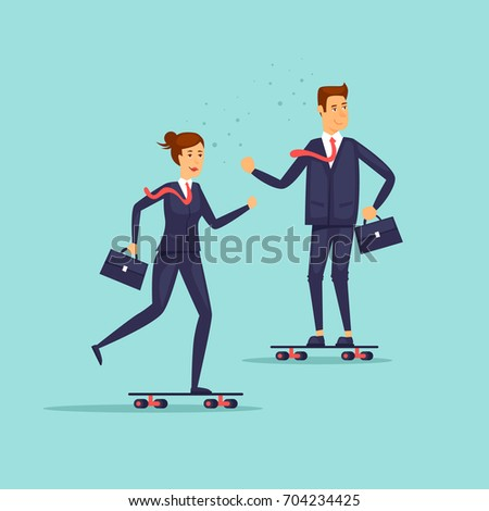 People in suits are riding skateboards. Business, work, office. Flat design vector illustration.