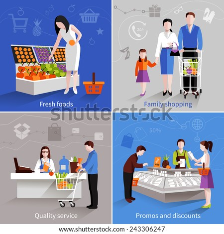 People in supermarket design concept set with fresh fruits family shopping quality service promos and discounts flat icons isolated vector illustration