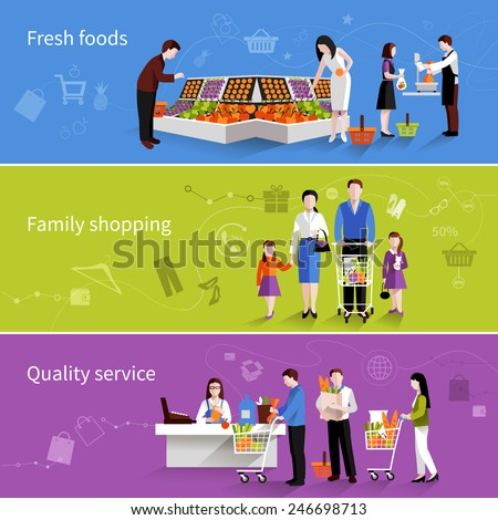 People in supermarket flat horizontal banners set with fresh foods family shopping quality service elements isolated vector illustration