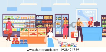 People in supermarket. Grocery shop interior with cashier and customers with carts and basket buying food. Cartoon mall store vector concept