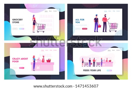 People in Supermarket Website Landing Page Set. Customers Stand in Grocery Queue with Goods in Shopping Trolley Put Buys on Cashier Desk for Paying Web Page Banner. Cartoon Flat Vector Illustration