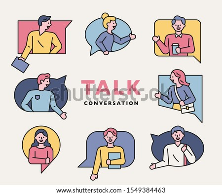 People in talking bubble frames of various shapes are talking. flat design style minimal vector illustration.
