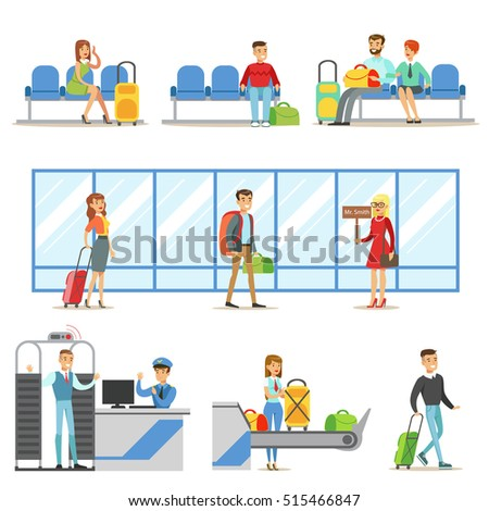 People In The Airport Interior, Passing Security Procedures, Waiting For The Flight And Arriving To Destination