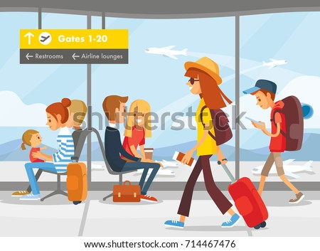 People in the airport terminal