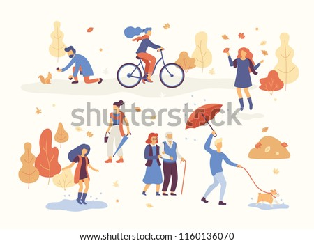 People in the autumn park having fun, walking the dog, riding bicycle, jumping on puddle, playing with autumn leaves, man with umbrella and bulldog. Set casual men and women in forest in fall vector