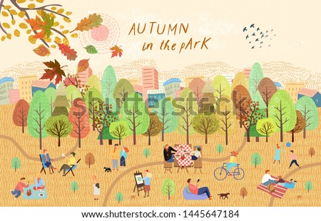 People in the autumn park. Vector illustration of people having a rest on a picnic in nature. Drawing by hand active family weekend in the forest by the lake with a barbecue, children's games, walks.