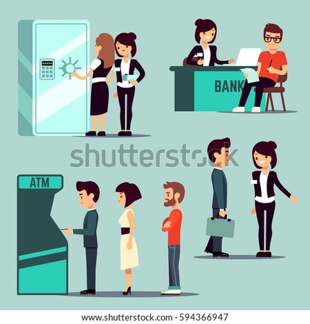 People in the bank, vector banking service, business concept