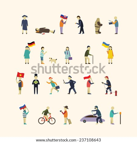 people in the city vector set