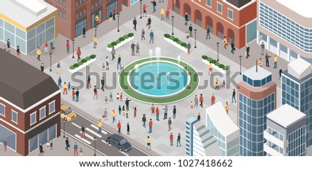 People in the city walking, meeting friends and shopping, top view