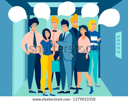 People in the elevator go to work. Bubble text for conversation. In minimalist style. Cartoon flat Vector Illustration ストックフォト ©