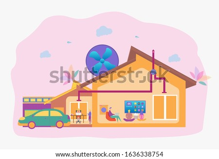 People in the house with an air ventilation system. Ventilation system, ventilation with energy recovery, the concept of cleaning the ventilation system. Colorful vector illustration