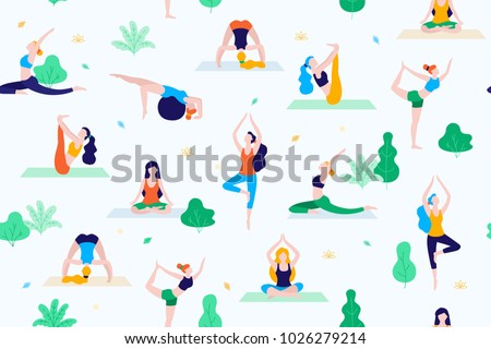 People in the park vector flat illustration. Women walk in the park and do sports, yoga and physical exercises. Park seamless pattern.