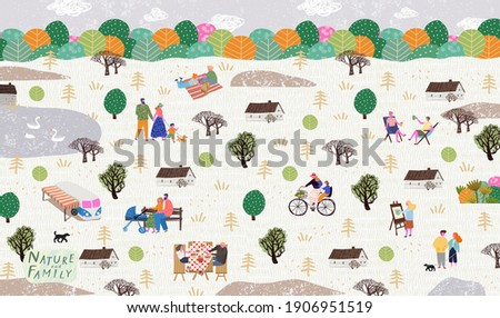 People in the park. Vector illustration of people having a rest on a picnic in nature. Drawing by hand active family weekend in the forest by the lake with a barbecue,  walks.Top view
