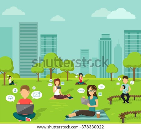 People in the park with mobile device, online web, wireless nternet technology outdoor, design flat illustration