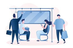People in the subway. Male and female characters in vatious poses. Humans sitting and standing in metro. People using public transportation. Scene in transport, trendy style vector illustration.