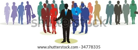 People in three line silhouette, color isolated vector