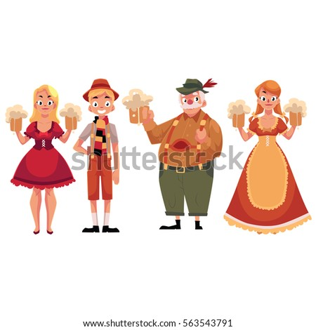 People in traditional German, Bavarian costume holding beer mugs, Oktoberfest, cartoon vector illustration isolated on white background. Full length portrait of German people in traditional costumes ストックフォト ©