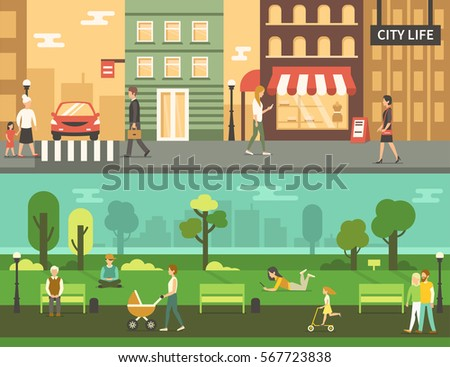people in urban park and city...