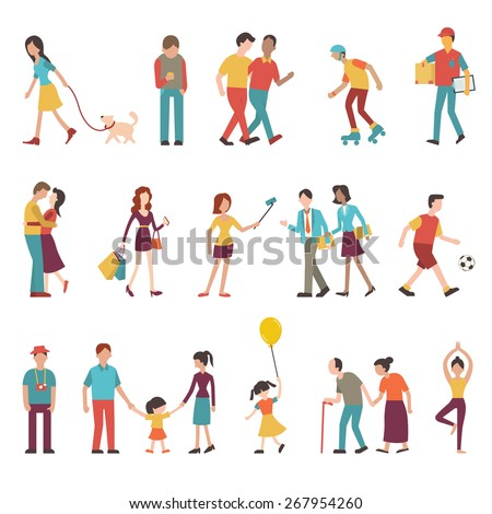 People in various lifestyles, businesspeople, woman walking to the dog, teenager, hipster, friends, woman doing yoga, homosexual, couple, lovers, family. Character set with flat design style.