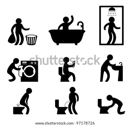People in various situation. Bathroom and toilet theme