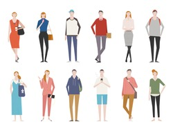 People in various styles of fashion front view. flat design style vector graphic illustration set