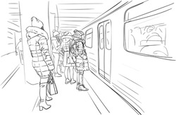 People in warm winter clothes, coats and hats are standing on metro platform waiting for train open doors. City sketch vector drawing, Hand drawn linear illustration black on white.