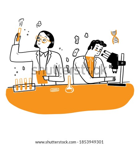 People in white coat, chemical researchers with laboratory equipment. Illustration of scientist in laboratory, science experiment in lab