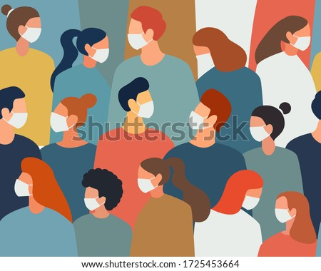 people in white medical face mask. Concept of coronavirus quarantine vector illustration. Seamless pattern.