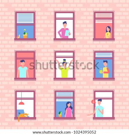 people in window frames inside