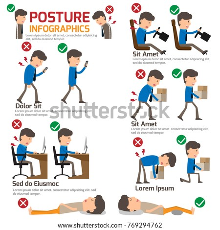 People incorrect posture and correct posture infographic, cartoon character health care vector illustration.